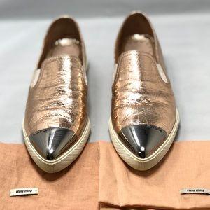 MIU MIU Metal Cap Toe Skater Metallic Copper 36